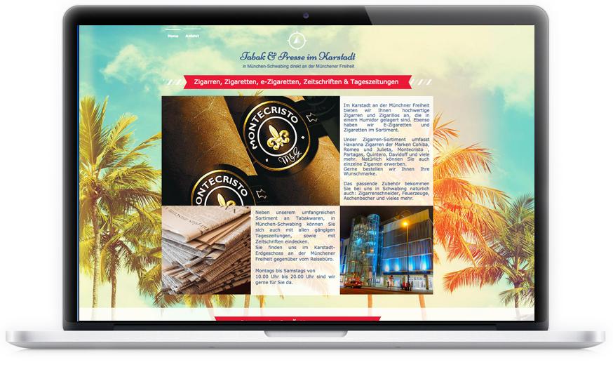 Der Tabak- und Presseladen im Karstadt in München-Schwabing hat von Red Star Design ein schönes und für mobile Ansichten optimiertes One-Page-Layout bekommen.