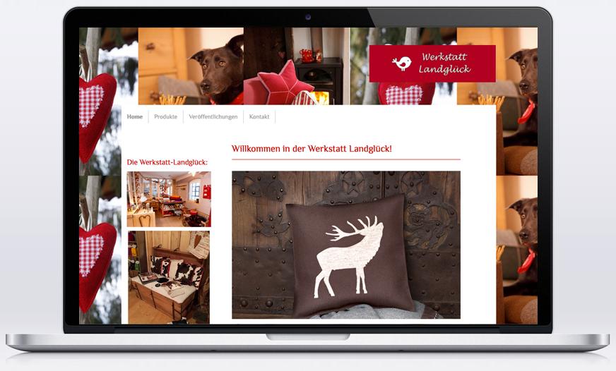 Die Werkstatt Landglück hat sich über eine mit Jimdo gestaltete Webseite gefreut um ihre schönen Produkte online zu präsentieren.