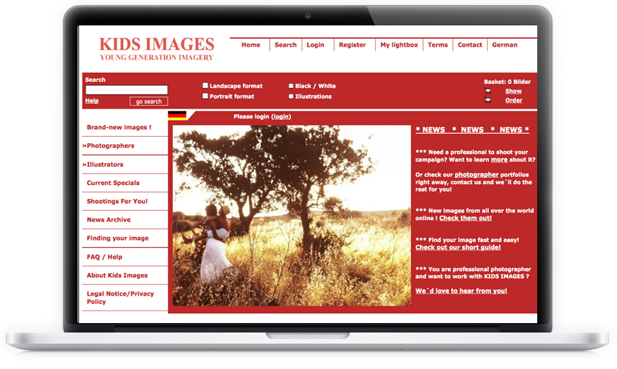 Für die weltweit einzige auf Kinderbilder spezialisierte Bildagentur haben wir 2008 das Design übernommen.