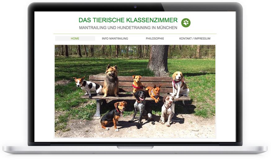Hundetraining und Mantrailing aus München. Erster Internetauftritt der jungen Hundetrainierin. Responsive.