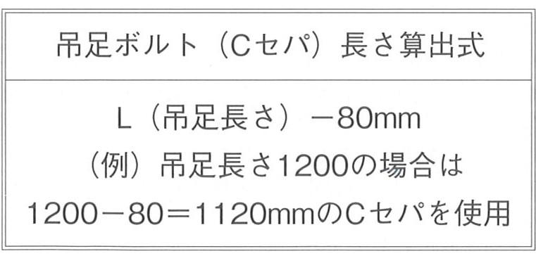 パイルキャップ P700・800 吊足ボルト長さ算出式