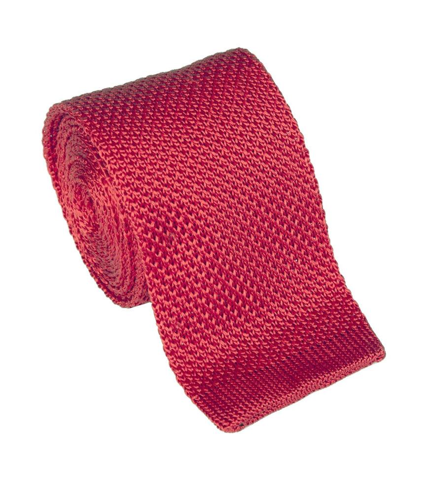 Corbata de punto roja en seda