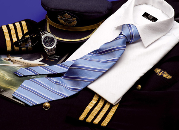 Corbata seda poliéster, uniforme piloto, Rusia