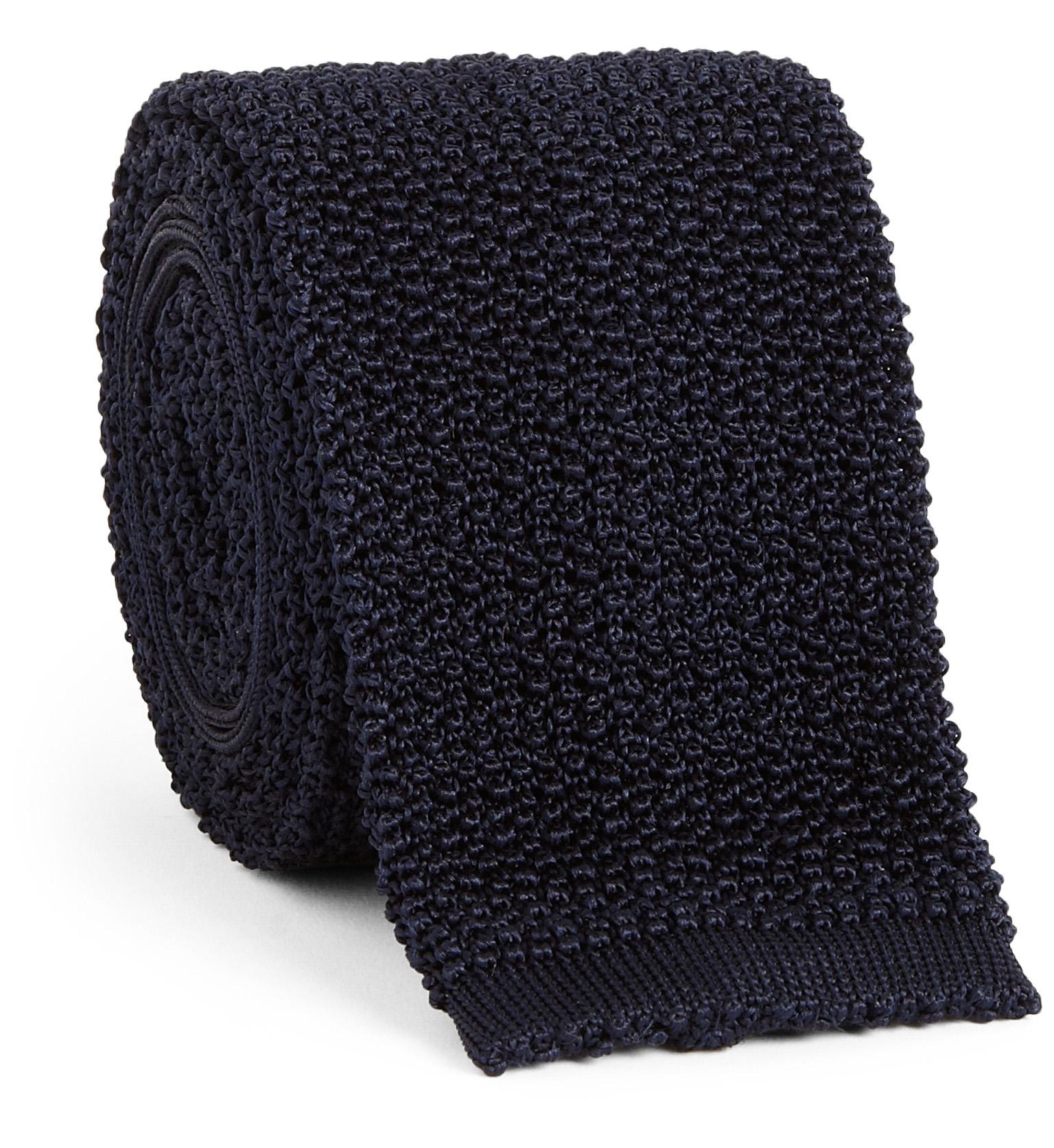 Corbata de punto azul orcuro en seda