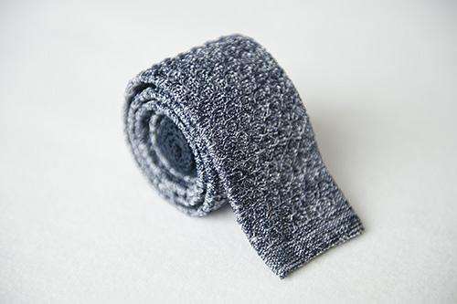 Corbata de punto azul melange en seda