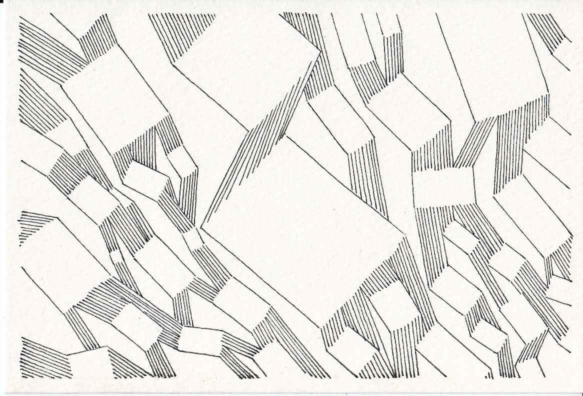 UTTARAYAN « Réseau cohérent – version 2 » - 2014 Pilot Vball 5 sur papier Muse grain fin 239g / 18x26cm
