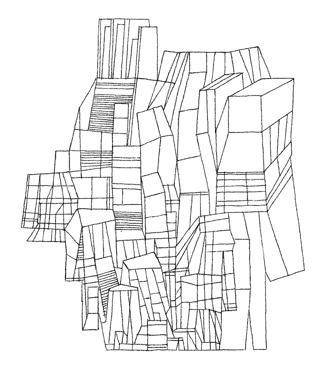 UTTARAYAN  « Flat city » détail (cb édit) - 2013 Pilot Vball 5 sur papier Arches grain fin 300g / 18x26cm