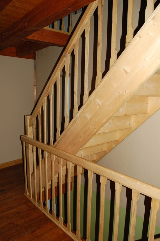 Handrail and spindles fitted to existing flight