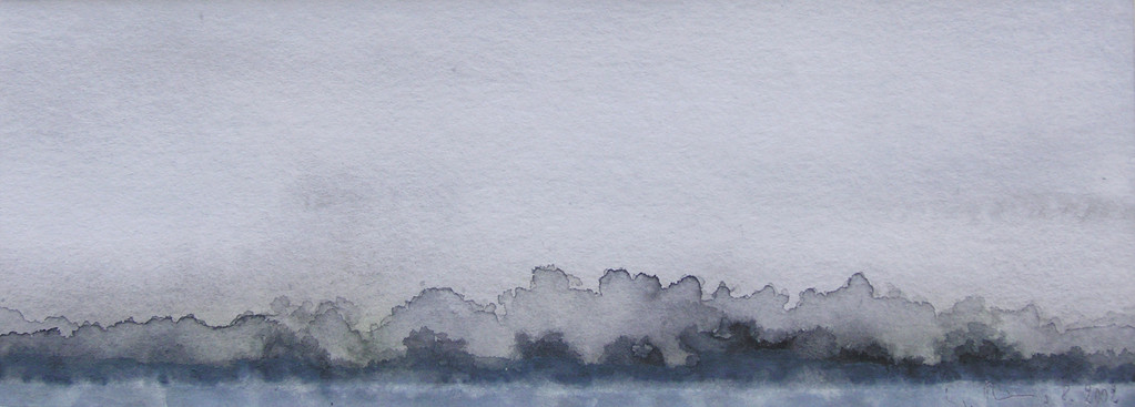 LANDSCHAFT 1, 2002, Aquarell, 12 x 29 cm