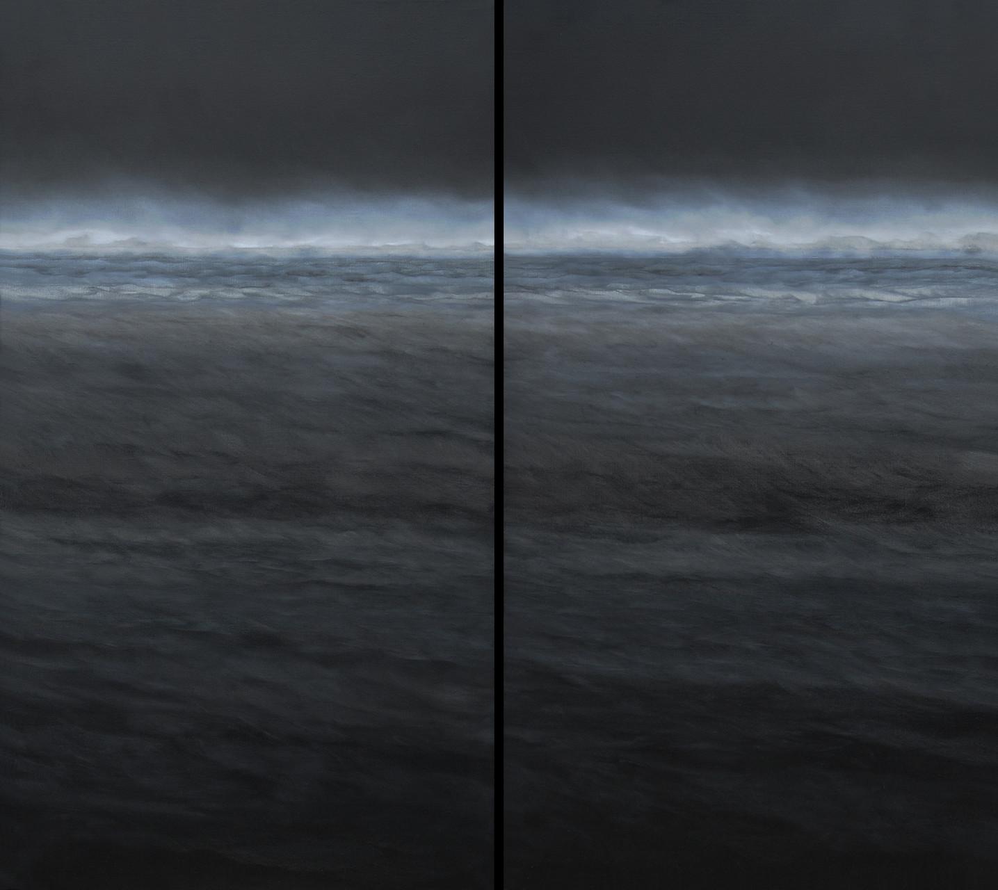 SCHWARZES WASSER, Diptychon, 2009, Öl/Lwd., 2 x 100 x 180cm