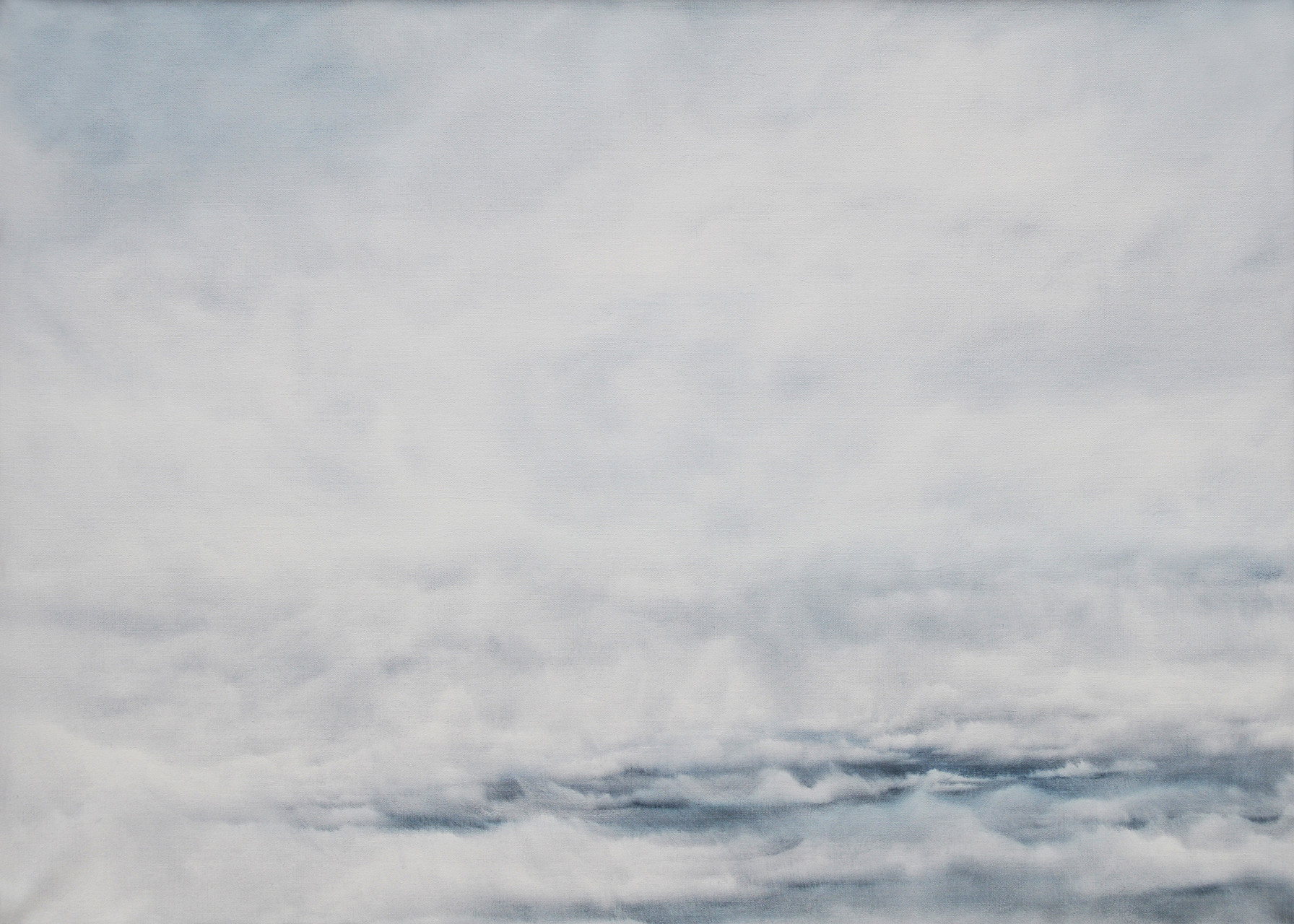 KOMPOSITION IN GRAUBLAU, 2014, Öl/Lwd., 100 x 140cm