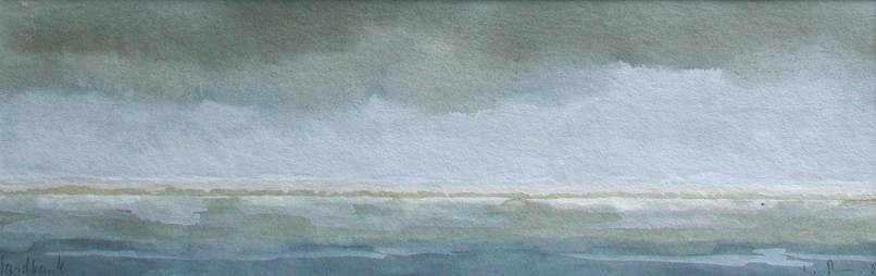 SANDBANK, 2002, Aquarell, 9 x 29cm