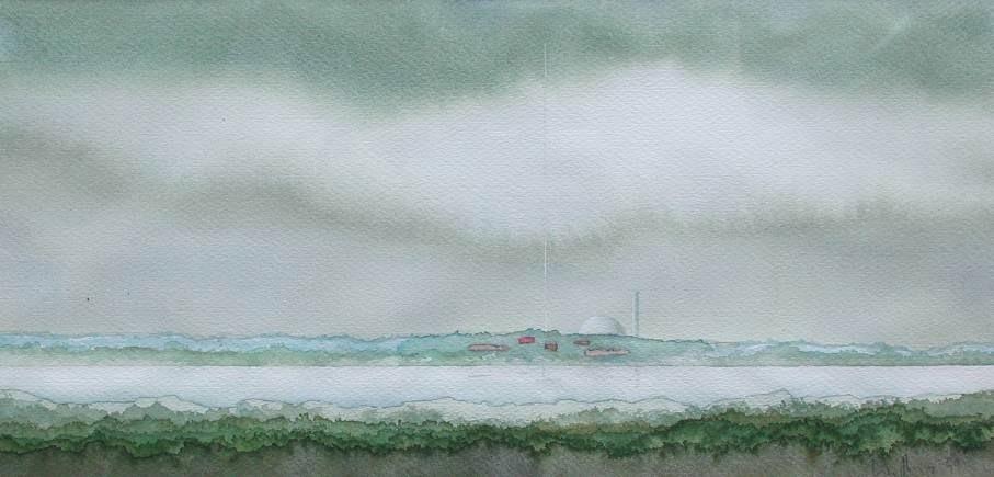 FLUSSLANDSCHAFT, 1999, Aquarell, 15 x 30cm
