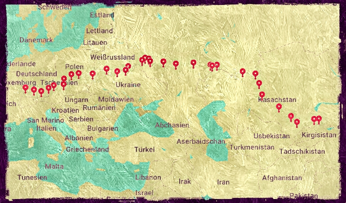 Unsere Route von Zentralasien (Kirgisistan) bis nach Deutschland