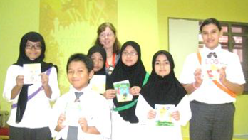 Winners of a design-a-cover competition at Al Khor International School, Qatar