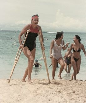 Beim Waikiki Roughwater Swim 1984.