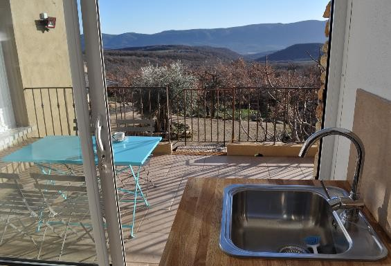 View on private terrace and Luberon from the kitchen