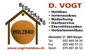 Sponsor Rockkonzert Wangen: Visitenkarte D. Vogt Holzbau GmbH CH-8855 Wangen SZ