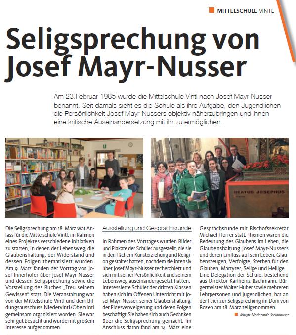 Seligsprechuung von Josef Mayr-Nusser, Bericht aus dem Gemeindeboten Vintl 04.2017