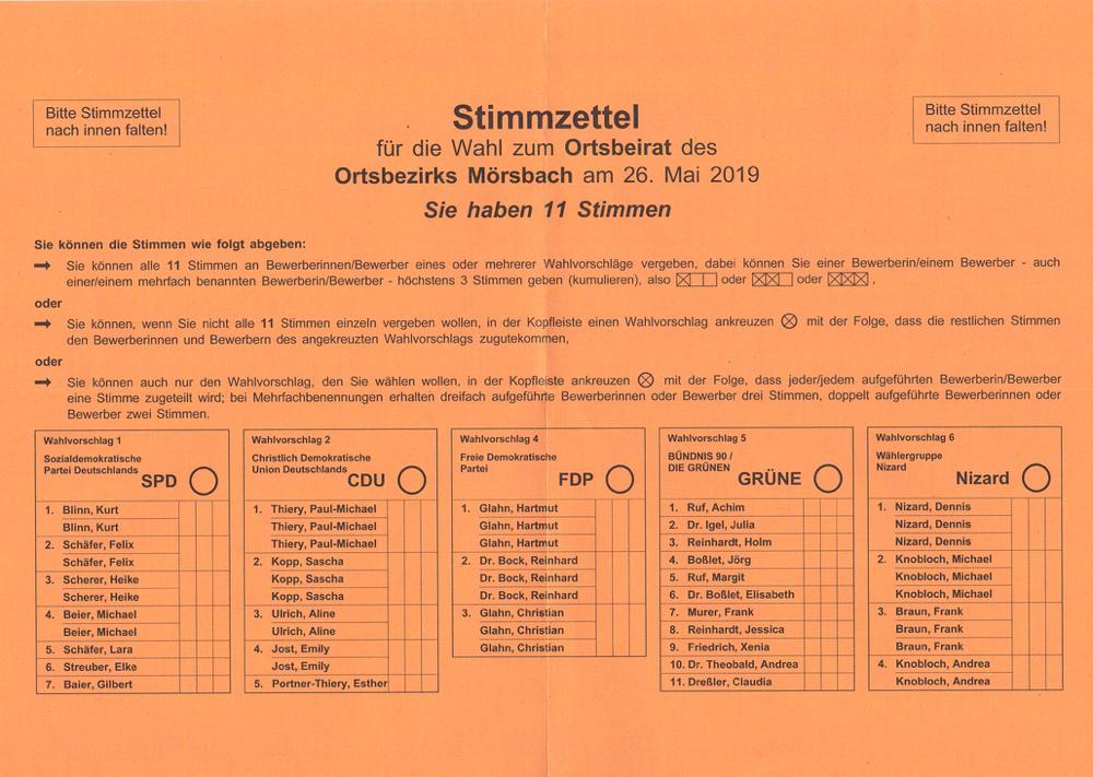 Stimmzettel Ortsbeirat Mörsbach 2019