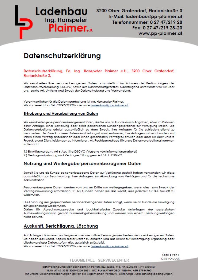 Datenschutzerklärung - gabriele-plaimers Webseite!