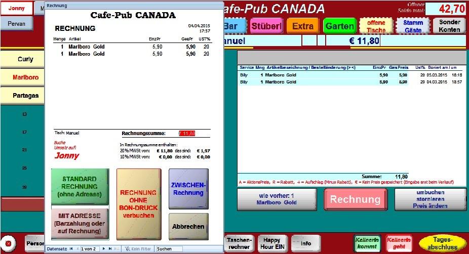 Rechnungs-Druck starten, rechts das Gastkonto