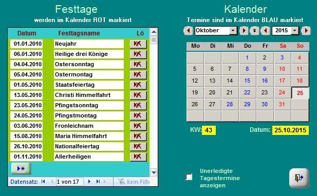 Kalender mit Terminen