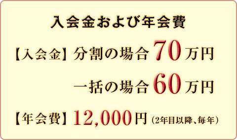 入会金 および 年会費