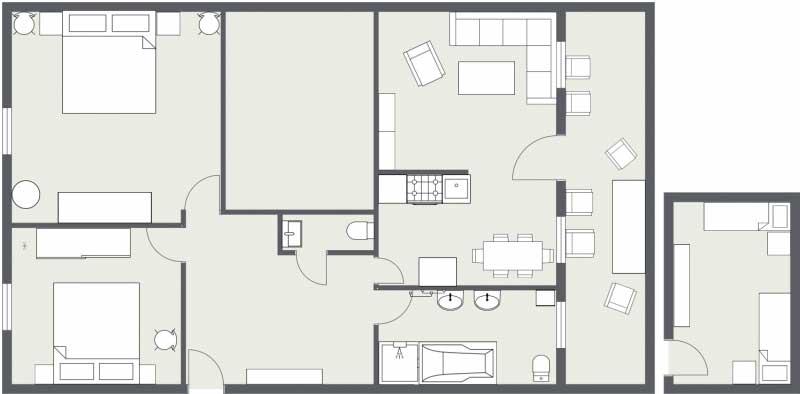 Grundriss der Familienwohnung im Landhaus Jörg