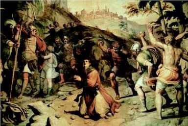 Lapidazione del primo martirio cristiano Stefano Apostolo