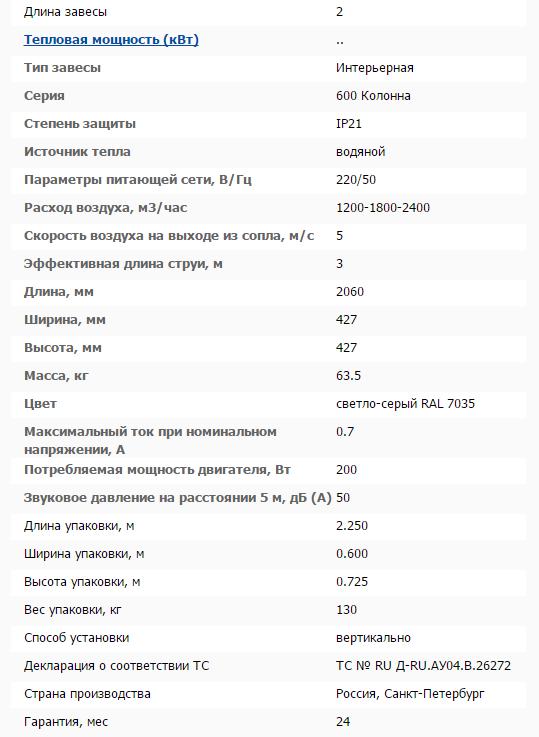Тепловая завеса КЭВ-52П6140W технические характеристики
