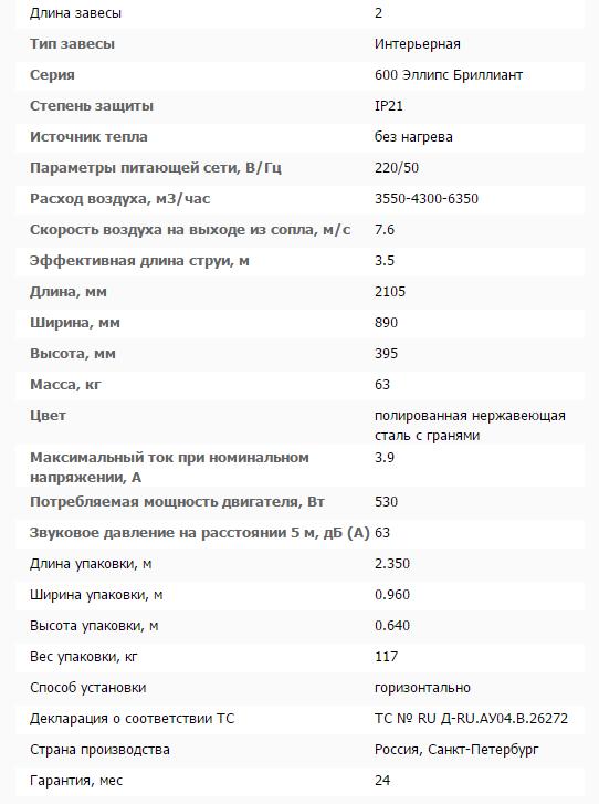 Тепловая завеса КЭВ-П6131A нерж. технические характеристики