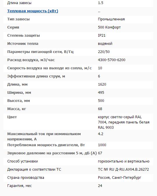 Тепловая завеса КЭВ-130П5131W технические характеристики