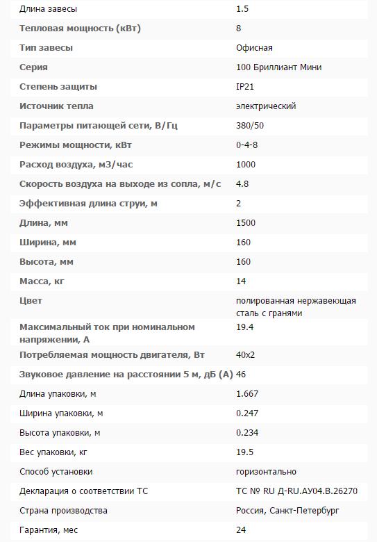 Тепловая завеса КЭВ-8П1063E технические характеристики