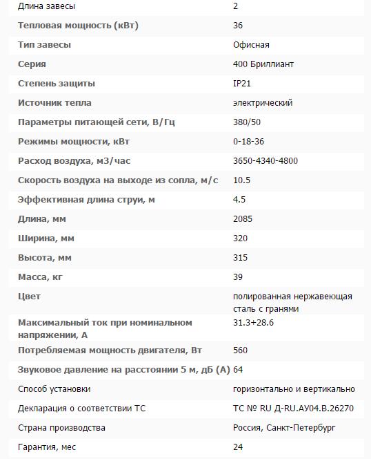 Тепловая завеса КЭВ-36П4023E технические характеристики