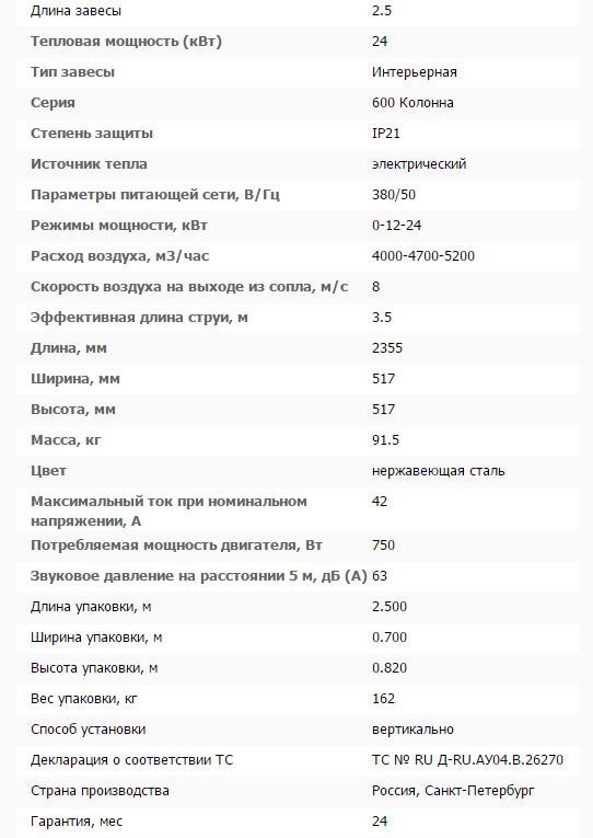Тепловая завеса КЭВ-24П6043E нерж. технические характеристики