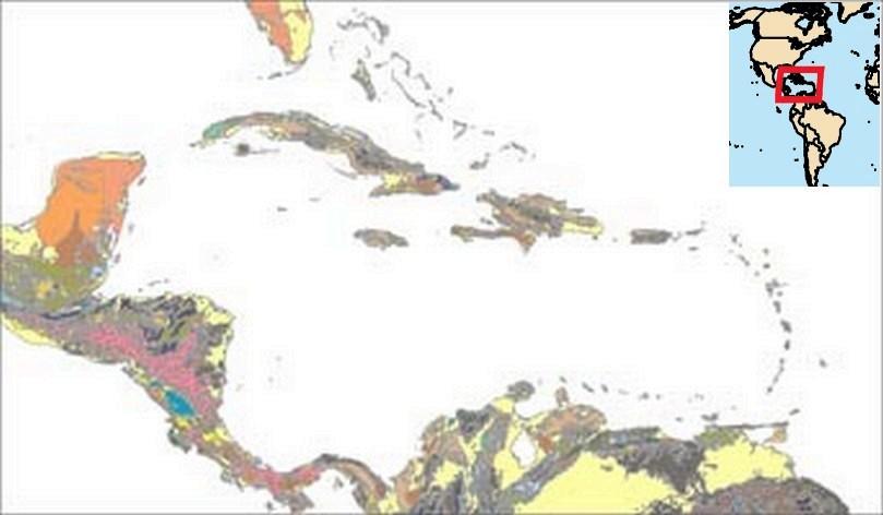 Carte géologique de la Caraibe