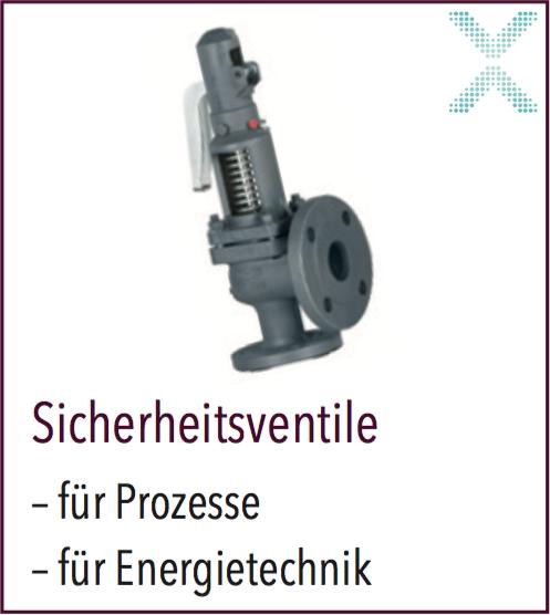 Ein breiter Range von Sicherheitsventilen, sowohl für Dampf und Heisswasser-Anwedungen aber auch Kryogenic in Rotguss bis Edelstahl