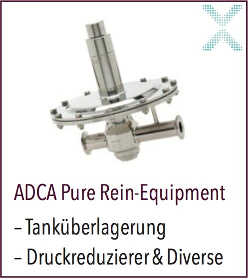 ADCA PURE ein riesiges Program vom Tanküberlagerungsventil in Aseptik Ausführung bis zum Vakuumbrecher
