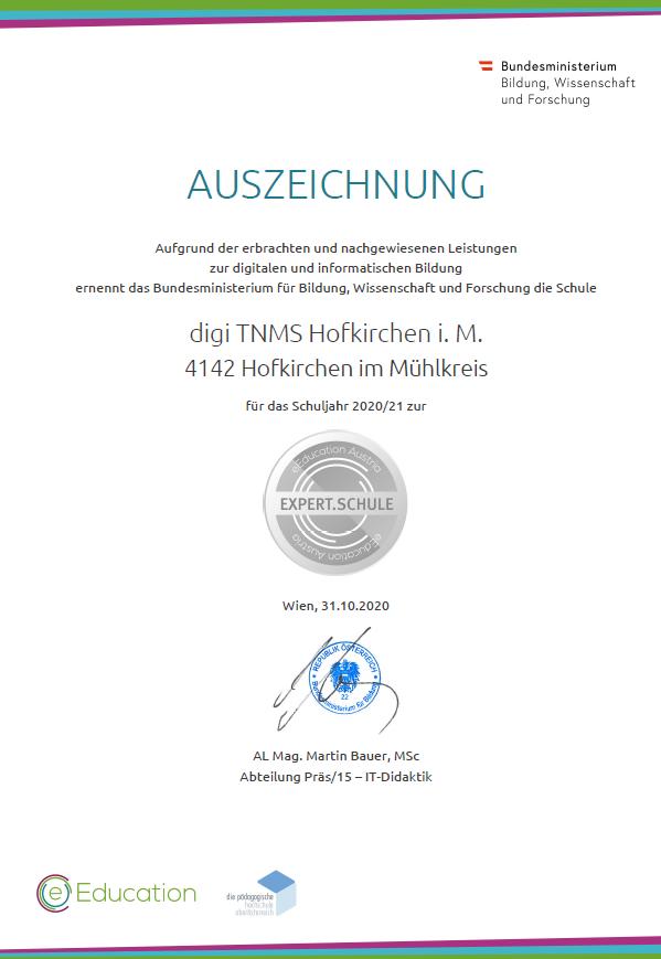 Die digiTNMS Hofkirchen ist eEcucation Expert-Schule!