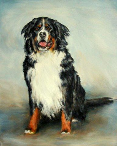 Hundebild gemalt mit Acrylfarbe, Berner Sennenhund