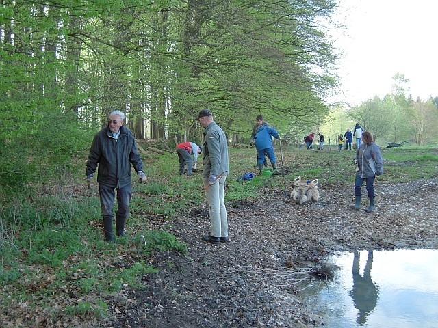 Arbeitseinsatz am Fledermauswald: Abbau alter Zäune, Pflanzung von Wildgehölzen, ...