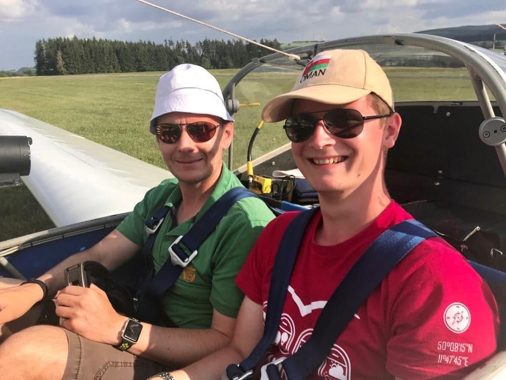 Fluglehrer Stefan Döhrling mit Michael Großmann