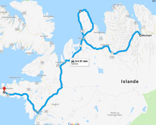 D'Akureyri à la pénisule de Vatnsnes