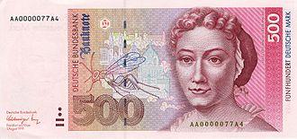 Portrait de Anna Maria Sibylla Merian sur un billet de 500 Deutsche Mark. (Wikimedia Commons)