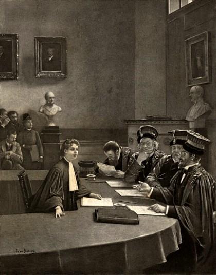 Madeleine Brès soutenant sa thèse », tableau de Jean Béraud