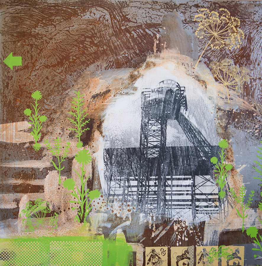 Zeche Radbod, 100cm x 100cm, Siebdruck und Fotoemulsion auf Stahl, 2015