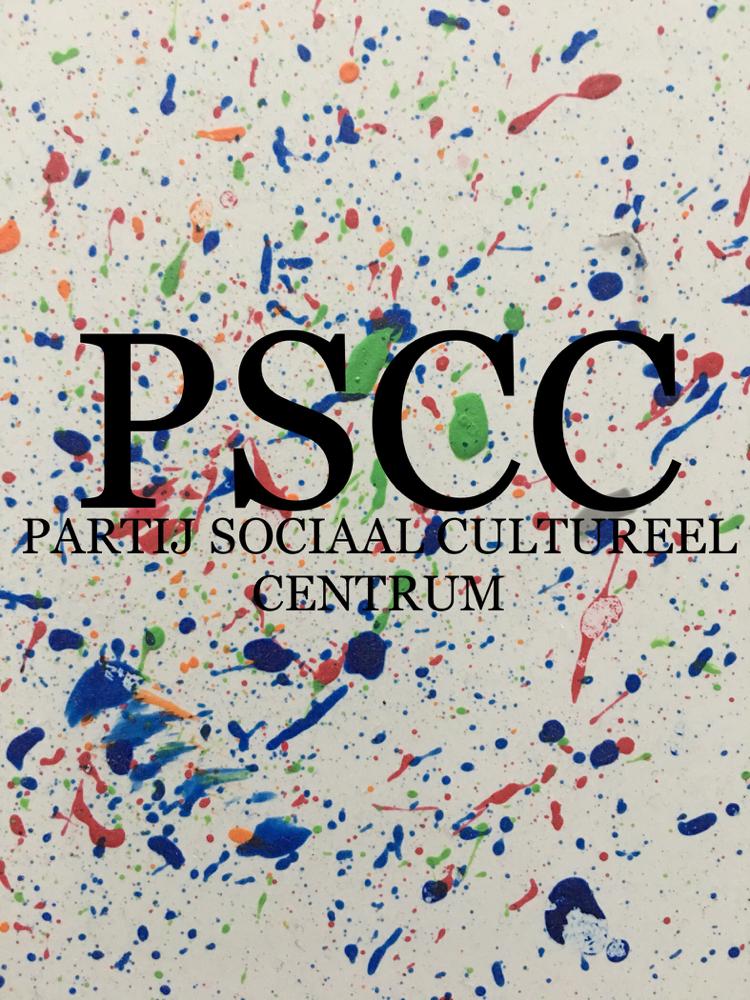 """Logo PSCC, tegel ontworpen door Denzel Habieb """"Mijn vader/mamoe is een spetter"""""""