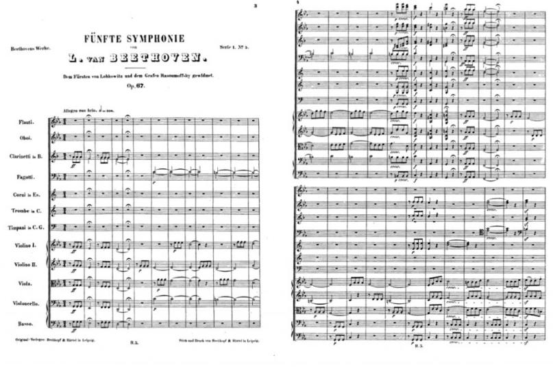 オーケストラ譜/総譜の例(画像はパブリックドメイン)