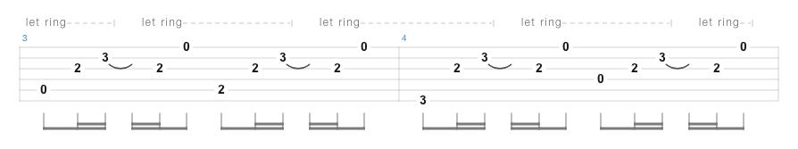 タブ譜の例
